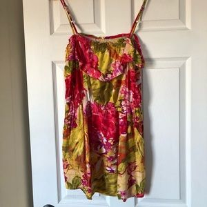 J Crew floral mini dress with spaghetti strap XS